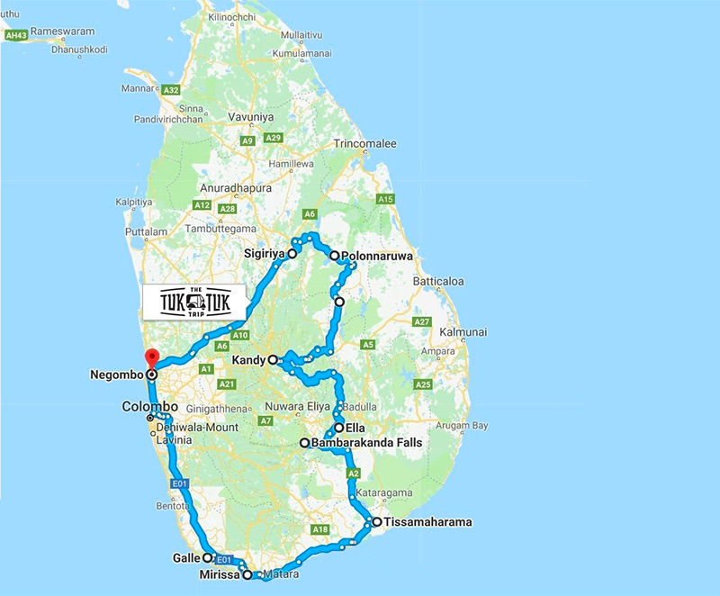Map of the route in Sri Lanka